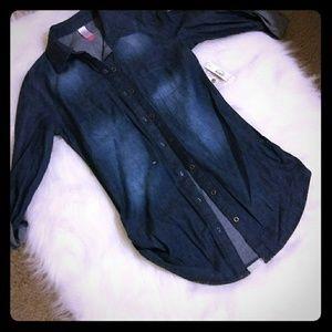 Jackets & Blazers - Long sleeve denim shirt-juniors
